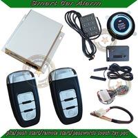 NEW!PKE  car alarm system with slim ignition push button,low frequency PKE antenna,RFID alarm ,shock alarm,passwords pad unlock