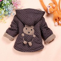 "Free Shipping New 2013 Children Clothing Kids Winter Behind "" Cartoon Bear"" Coat  4PCS/LOT"