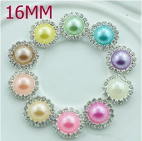 Free Shipping!100pcs/lot 16mm 10colors round metal rhinestone pearl button wedding embellishment headband DIY accessory