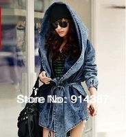 New High Quality Women's Denim Coat Hoodie Coat Hooded Outerwear Jeans Jacket