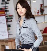 Autumn Women's Work Wear Wotton Frock Shirt Female Long-Sleeve OL Slim Lace Stitching Shirt Blouse Tops