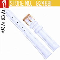 Hot TOP Women White Watch Straps,Gold Deployment Clasp Buckle,12 14 16 18 20 22mm,Genuine Leather Watch Bands Belt Free Shipping