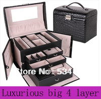 Free shipping luxury leather jewelry box , necklace pendant  display casket shelf packing  gift box Beauty case jewelry box