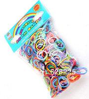 10pack/lot Hot selling loom Kit DIY Rubber Loom Bands Refill Pack 600pcs Mixed Color Bands+24pcs S-clips+1pcs Hook