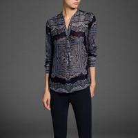 ST869 New Fashion Ladies' vintage Totem print blouse elegant long sleeve stylish Shirt casual slim brand designer tops