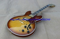 FWholesale - 2012 New Arrival sunset Gold hardware F - hole hollow Electric guitar in stock / woth colorful inlay