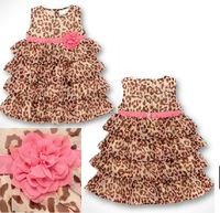 Wholesale! 2014 new Leopard  sleeveless Waist  girl Dress,  3D Flower Tutu Layered Princess Party Kids Formal Dress
