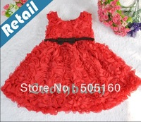 1 pc retail New Arrival Kids Dresses Baby Red Rose Dress With Belt Girls Children Dress princess dresses girl dress tcq 002- 4