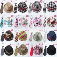 Boys girls fedoras with neck tie set Kids fedora trilby hat with necktie Children top hat Jazz cap 12set BH231
