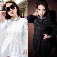 New Autumn Winter Women Long Sleeve Dress Bottoming Slim Dress Stand Collar Rhinestone Lace Dress 18934 Z