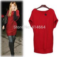 Hot Sale Autumn Winter Hot Sale Women's Sweater Dress Casual Pocket Jersey Dresses free shipping