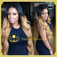 Fashion wavy #1b #27 blond ombre lace wig 130-150 density &two tone lace front wig with baby hair FREE STYLE