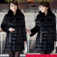 2014 Winter Women's Faux Rabbit Fur Fox Fur Medium-long Fur Coat Plus Size XXXL XXXXL Thicken Outerwear Large Fur Collar Black