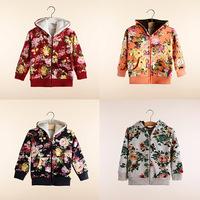 Free Shipping Boys Girls Autumn Winter Fur Coat Toddler Children Outerwear Kids Sweet flower Jackets warm Clothing Wear