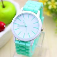 11 colors New Fashion Silicone GENEVA Watch For Women Dress Watch Quartz Watches 1pcs/lot
