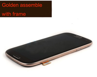 Full Replacement Brown LCD Screen Display Touch Screen Glass Assembly with Frame for Samsung Galaxy S3 i9300/i9308