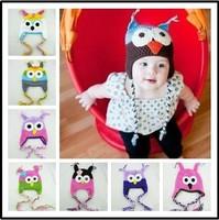 Free shipping!Baby handmade Owl EarFlap Crochet Hat children crochet Hat handmade owl beanie Knitted hat 7colors 2pcs/lot