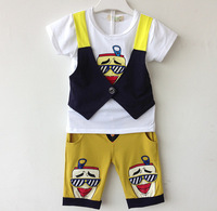 2014 New clothing set suit cotton Toddlers children baby boy's girl's autumn spring 2 pcs Pattern baby shirt + pants sets retail
