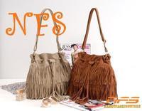 HOT Faux Suede Fringe Tassel Shoulder Bag Womens Handbags Messenger Bag Free Shipping 40002