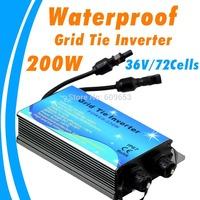 MPPT 200W 110Vac Waterproof Grid Tie Inverter,36V panel,72 Solar cells,22V-45VDC,MPPT function,Pure Sine wave 90V-140V output