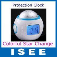 Music Alarm Clock Starry Star Sky Projection Alarm Clock Calendar Digital Thermometer Night Light Projector Lamp free shipping