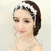 Colour bride hair accessory crystal lily handmade lace hair accessory pearl tassel married hair accessory wedding dress