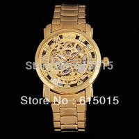 2014 New Hot Sale Mens Golden Skeleton Hand Wind Mechanical Watch ,Dress For Men/Women Watches Original Brand Winner