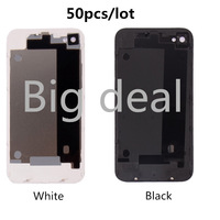 DHL Free 50pcs/lot White Black choice Back battery door cover Rear glass housing shell For iPhone 4 4S