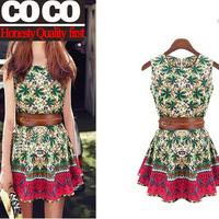 Free shipping!new spring summer fashion cute women slim elegant flower sundress girl printed dress with belt A439