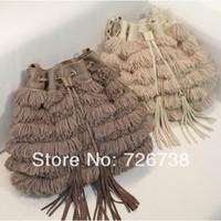 Free shipping 2013 hot-selling women's European and American Star style handbags new arrival chain tassel belt bag for women
