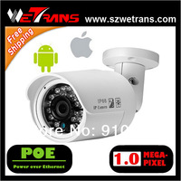 Free Shipping Mini IR Bullet 1 Megapixel HD IP Camera POE