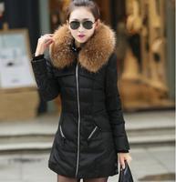 New 2014 jacket winter coat thicken Slim female raccoon fur collar and long coat women parkas winter coat plus size S-4XL