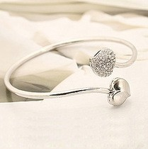 Free shipping $10 5042 Accessories Simple Women's Double Peach Heart Of Love Bangles B086(China (Mainland))