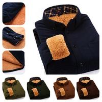 2014 Hot Sale Winter Shirt ! Men's Long Sleeve CamoFleece Corduroy Shirt / Fashion Solid Color Vintage Style Thick Shirt for Men