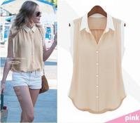 peter pan collar design 2014 new  European style peter pan collar sleeveless casual chiffon camisas blusas Blouses & Shirts