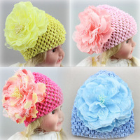 Hot European Popular Children's Hair Accessories Silk Peony Flower Hair Cap Children Knitted Hat