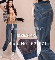 2014 Winter Women Casual Fashion Warm Mink Fleece Loose Long Baggy Jeans Denim Pants Bloomers L/XL/2XL/3XL/4XL/5XL/6XL Plus Size
