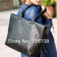 2013 New Korean Fashion Hot Sale Simple Plaid PU Leather Black Bag Women Handbag Casual Bag Ladies Shoulder Bag
