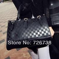 Free shipping 2013 hot-selling fashion women's Advanced PU handbags portable engraving embossing checked pattern shoulder bag