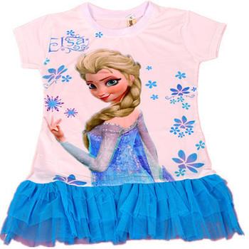 Девушки платье принцесса анна эльза мини завеса лето мода с коротким рукавом одежда бесплатная доставка