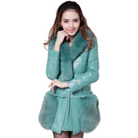 Winter fox fur slim genuine sheepskin leather down leather clothing female medium-long down coat