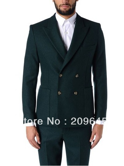 Mens Dark Green Suit Groom Men Dark Green Peak