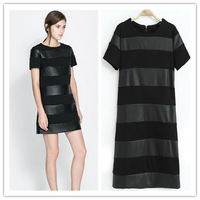 Women Bandage Bodycon Dress Faux Leather&Cotton Spliced Dresses Sexy Party Slim Dress Stretchable Spring Autumn in 2014