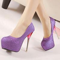 2015 Elegant Fashion Purple Shoes Platform High heels Sexy Glitter Women Pumps Ladies Evening Party Shoes Woman Black Gold