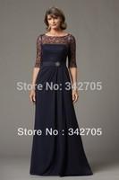 2014 New Arrival Formal Dresses Mother Dresses Indigo Lace Neckline Floor-length Hemline Mother Of The Bride Evening Dresses