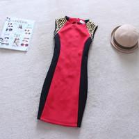 2014 New Women Spring Winter Dress Vestidos Femininos Normic Rivet Elegant Waist Patchwork Sleeveless Dresses Plus Size PH0362