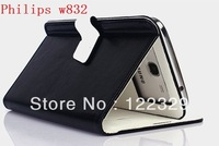 Hot selling Pu Leather Flip auto-sleep magnet High quality Phone cover case for Philips w832 free shipping