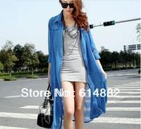 New 2014 Women Summer Chiffon Blouses  Fashion Long Design Beach Casual Blouses   SL04