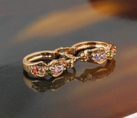 Free shipping!!!Brass,Celebrity, gold color plated, micro pave cubic zirconia, nickel, lead & cadmium free, 17x6mm, Sold By Pair