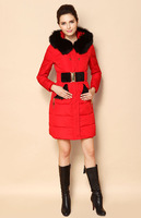 2013 New Winter Women Down Coat Thin Fashion Long Down Jacket Detachable Cap Fur Warm Wear Clothes, Via EMS/Fedex